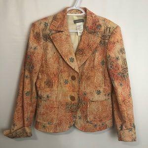 Steilmann earth tone embroidered lined blazer Sz 8